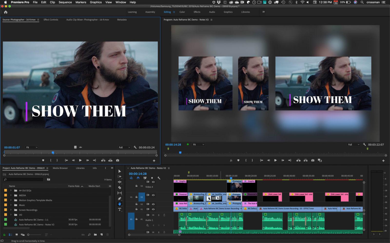 Adobe Creative Cloud premiere pro cc auto reframe