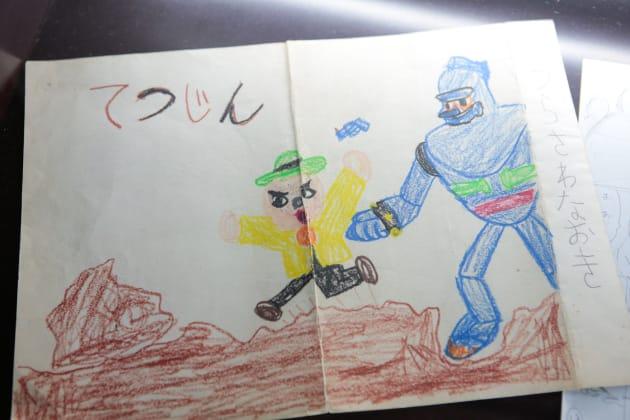 浦沢氏が幼少期に描いたお絵かきも展示されている。