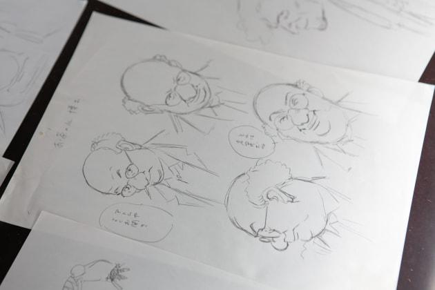 『PLUTO』キャラデザインのデッサン。