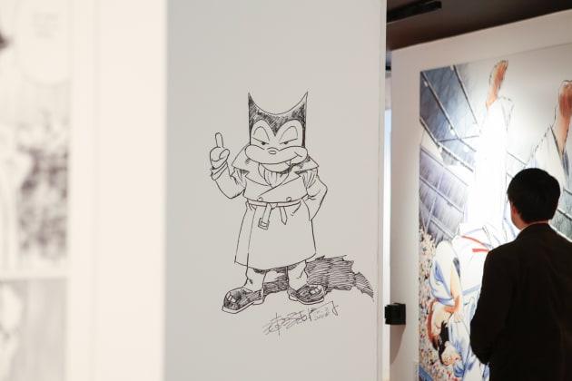 浦沢氏が展覧会会場の壁に落書きしたイラスト。