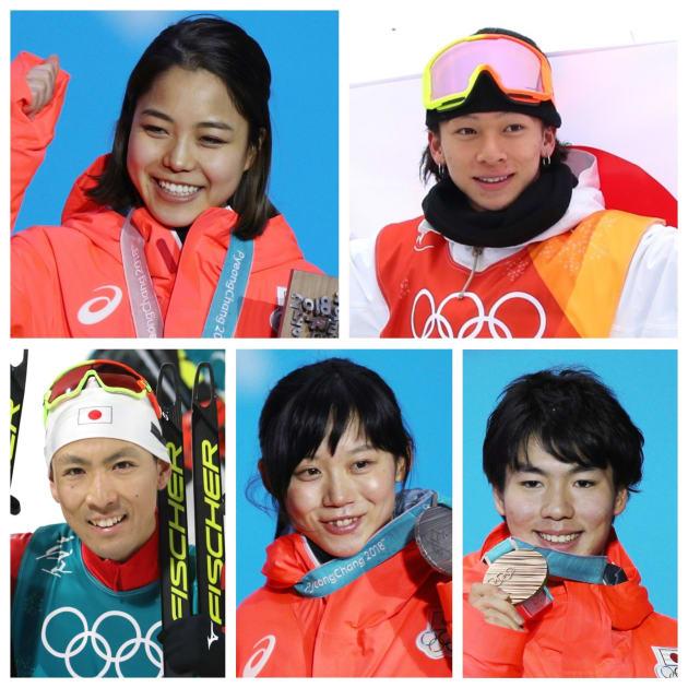2月14日までにメダルを獲得した日本人選手。(左上から時計回りで)高梨沙羅、平野歩夢、渡部暁斗、高木美帆、原大智(敬称略)