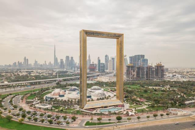 Aerial view of Dubai Frame