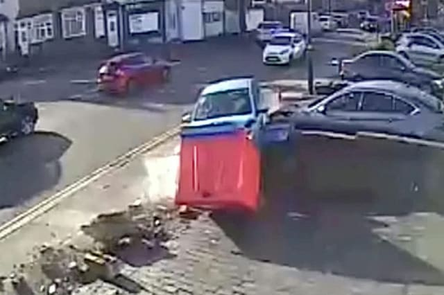 Moment an out of control driver crashed SIX times in a minute - hitting at least three cars and a number of walls.