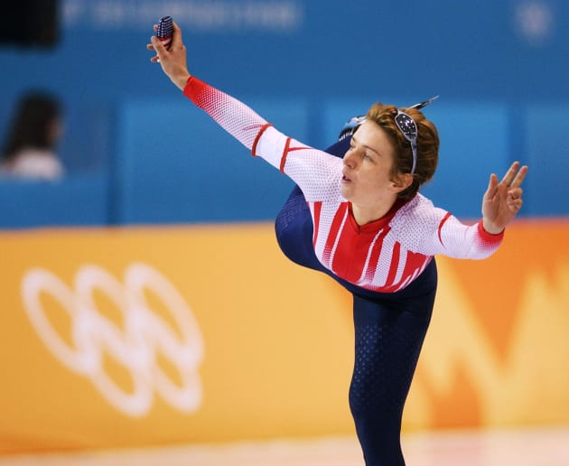 SALT LAKE CITY, UNITED STATES:  Austrian Emese Hunyady jubilates after she set a new olympic record with 4:06:55 in the women's 3000m speed skating race of the XIXth Winter Olympics 10 February 2002 at the Utah Olympic Oval in Salt Lake City.  AFP PHOTO JOHN MACDOUGALL (Photo credit should read JOHN MACDOUGALL/AFP/Getty Images)