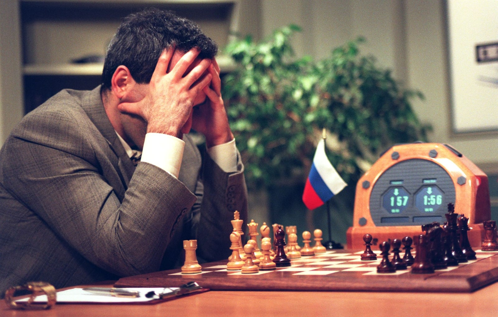 World Chess Champion Garry Kasparov looks at the c