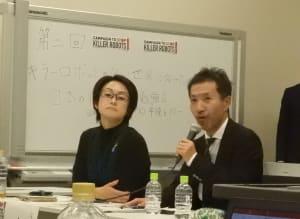 キラーロボットの禁止条約の早期締結を訴える地雷廃絶日本キャンペーン(JCBL)代表理事の清水俊弘氏(右)、左はヒューマンライツウォッチ代表の土井香苗氏