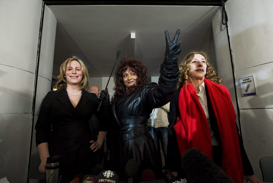 From left to right: Sex workers Nikki Thomas, Terri-Jean Bedford, and Valerie Scott were at the centre of a landmark case in 2013 that challenged the Canadian law as unconstitutional.