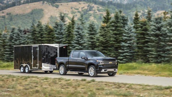 2019 Chevy Silverado towing a trailer