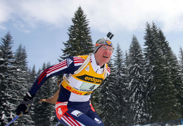 Sergei Tchepikov of Russia team II competes during the mixed relay World Championships Biathlon race in Pokljuka, Slovenia March 12, 2006. Russia team II won while Norway team I placed second and France team I came third.   REUTERS/Srdjan Zivulovic