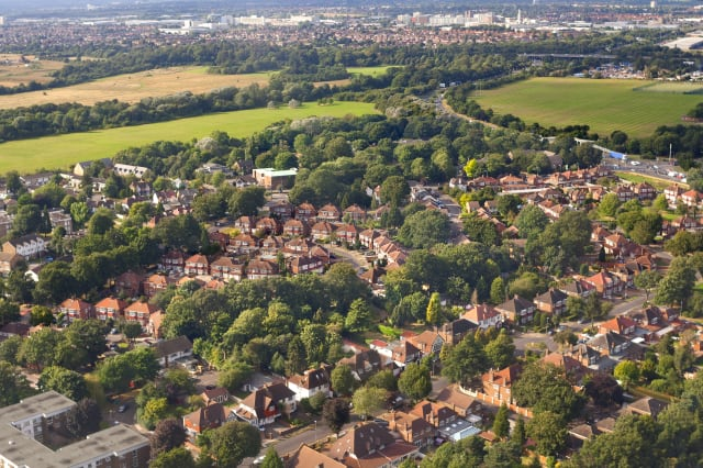 Aerial view of London outskirts, England