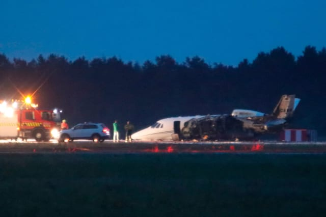 Reports: Private plane carrying singer Pink's crew crash-lands, catches fire in Denmark