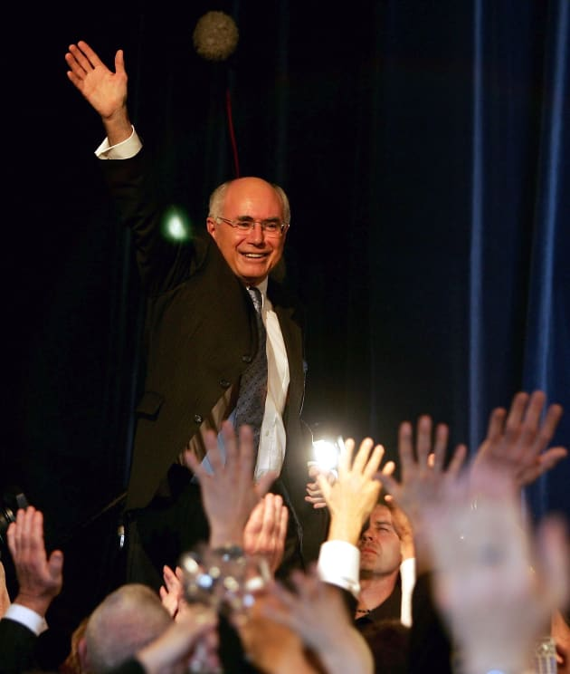 Prime minster John Howard, pictured here on election night, October 9,