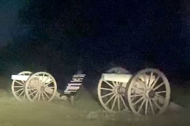 This chilling video appears to show two apparitions running across the road at the famed Civil War battle site in Gettysburg, Pennsylvania
