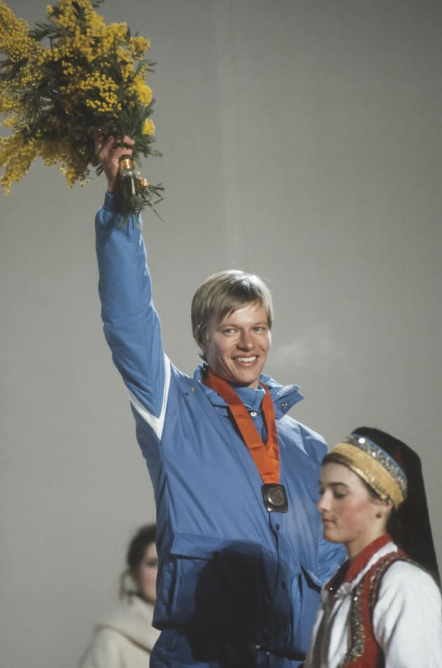 SARAJEVO, YUGOSLAVIA - FEBRUARY 13: Harri Kirvesniemi #37 of Finland waves to the crowd during the awards ceremony for the Men's 15k race of the Cross Country Skiing competition in the 1984 Winter Olympics held on February 13, 1984 at Igman Velko Polje near Sarajevo, Yugoslavia. Kirvesniemi won the silver medal in the 15k, as well as a bronze in the 4 x 10k relay event of this Olympics. (Photo by David Madison/Getty Images)