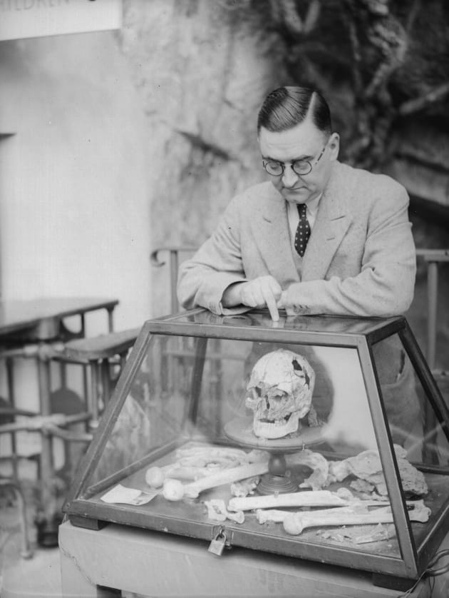 June 1935  A man looking at an exhibit in the Cheddar Gorge museum. ( 239c2726c19e