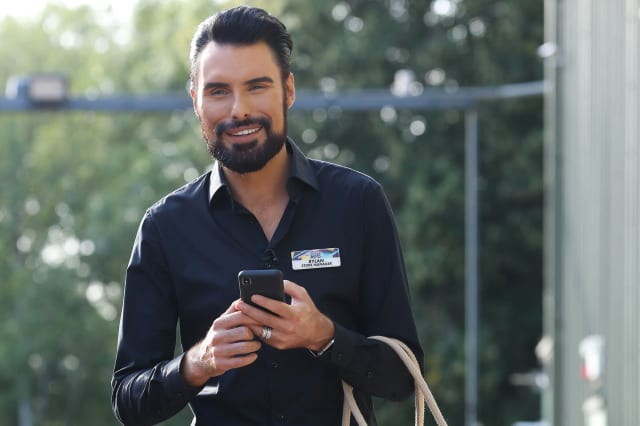 EDITORIAL USE ONLY New host of Supermarket Sweep, Rylan Clark-Neal, leaves the ITV Studios holding a special-edition Tesco 'Supermarket Sweep' bag for life, as the supermarket reveals it helped to bring the show back to the nation's screens.