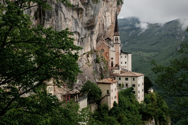 View of the mountains in northern Italy. Sanctuary of Madonna della Corona