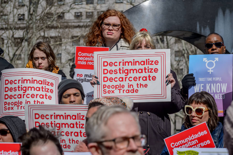 Decrim NY, a coalition of activists gather at Feb. 25 event, to advocate for decriminalizing and decarcerating the sex trades in New York City and state.