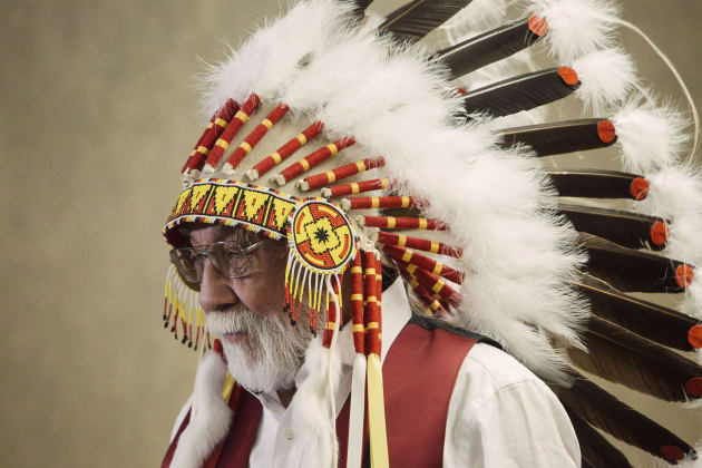 Chief Archie Waquan responds to the Supreme Court of Canada's decision on Courtoreille v. Canada in Edmonton,...