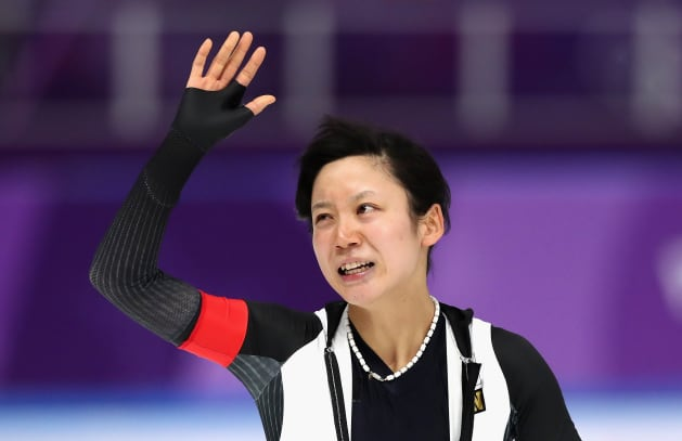 GANGNEUNG, SOUTH KOREA - FEBRUARY 12:  Miho Takagi of Japan reacts after competing and winning the silver medal during the Ladies 1,500m Long Track Speed Skating final on day three of the PyeongChang 2018 Winter Olympic Games at Gangneung Oval on February 12, 2018 in Gangneung, South Korea.  (Photo by Ronald Martinez/Getty Images)