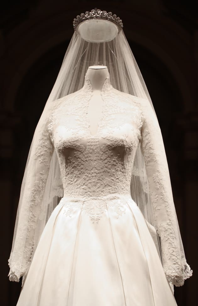 AFP Getty Images The Wedding Dress Of Catherine Duchess Cambridge Is Pictured At Buckingham Palace On July 20 2011