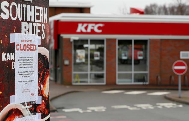 一時閉店した店舗=2月19日、コールビル、イギリス