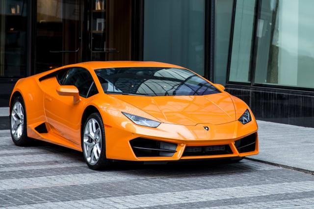 Lamborghini Huracan car of orange color