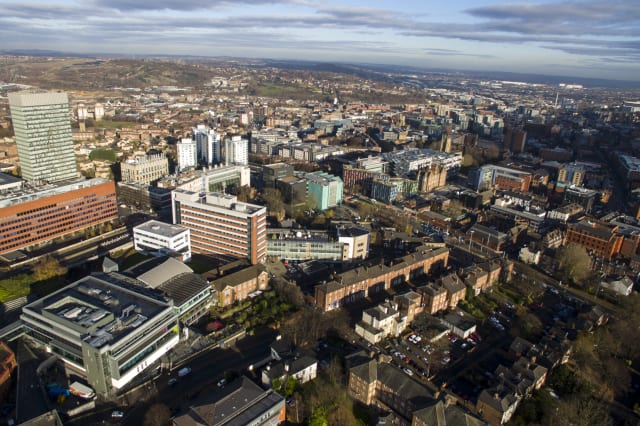 Aerial shot overlooking city centre