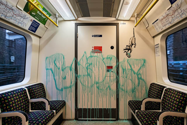 Banksy creates coronavirus-related artwork on London Underground carriage