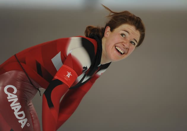 Clara Hughes of Canada smiles after skating in the women's 5,000 metres speed skating race at the Richmond Olympic Oval during the Vancouver 2010 Winter Olympics, February 24, 2010.  REUTERS/Dylan Martinez (CANADA)
