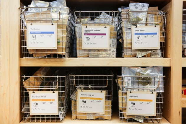Different strains of marijuana are seen for sale in