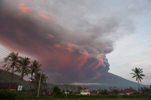 Mount Agung volcano erupts as seen from Culik Village, Karangasem, on November 26, 2017.