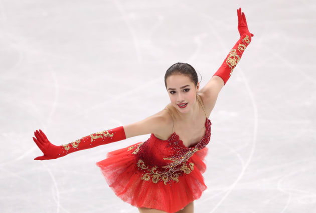 フィギュア団体戦女子フリーに出場するザギトワ選手=2月12日、韓国・平昌