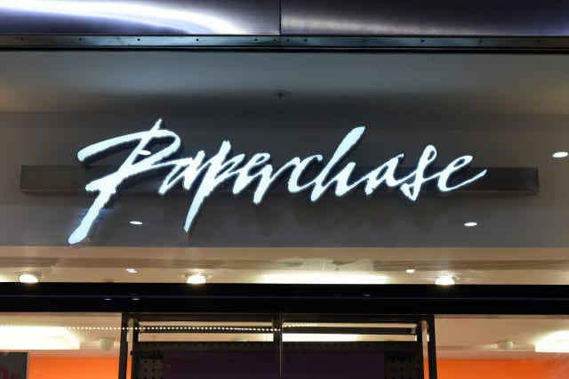 The front sign of Paperchase shop and logo seen in London...