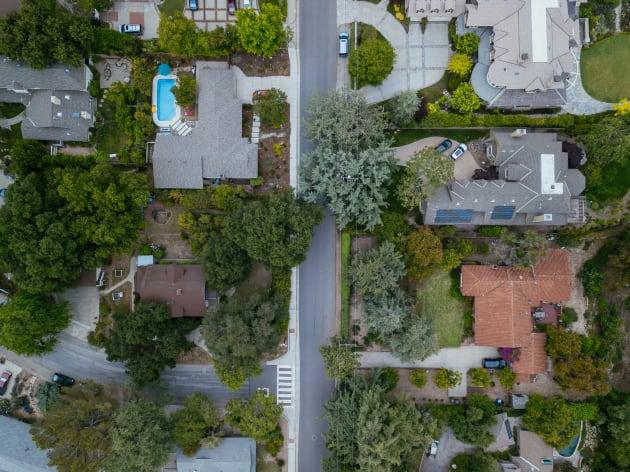 Aerial view of a suburban neighbourhood.