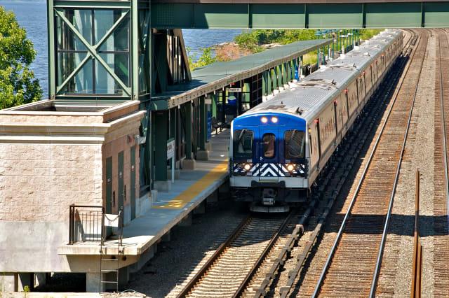 Commuter railroad train at station, Bronx, New York City