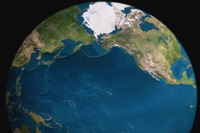 Globe, Pacific Ocean prominent