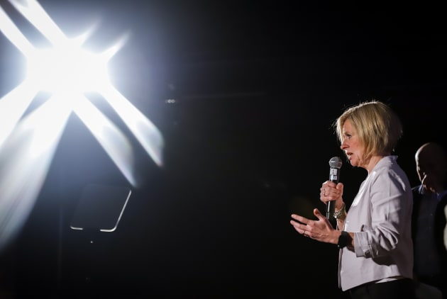 Alberta NDP Leader Rachel Notley makes a campaign stop in Calgary on April 12,
