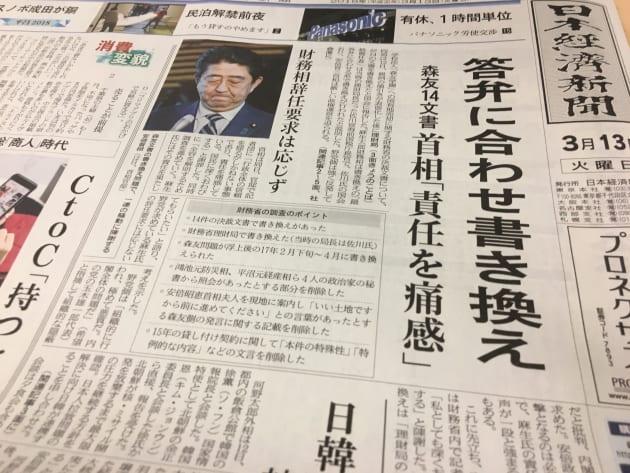 日経新聞の朝刊