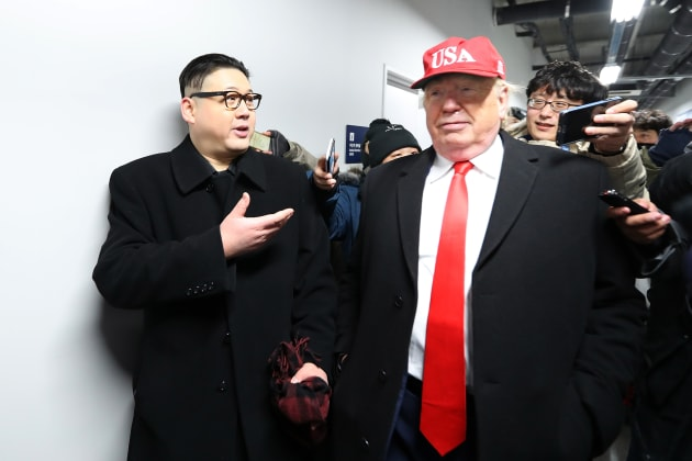 PYEONGCHANG-GUN, SOUTH KOREA - FEBRUARY 09:  impersonators of Donald Trump and Kim Jong Un are escorted out of the ceremony during the Opening Ceremony of the PyeongChang 2018 Winter Olympic Games at PyeongChang Olympic Stadium on February 9, 2018 in Pyeongchang-gun, South Korea.  (Photo by Richard Heathcote/Getty Images)