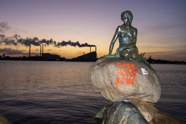 Graffiti painted on Copenhagen's Little Mermaid statue