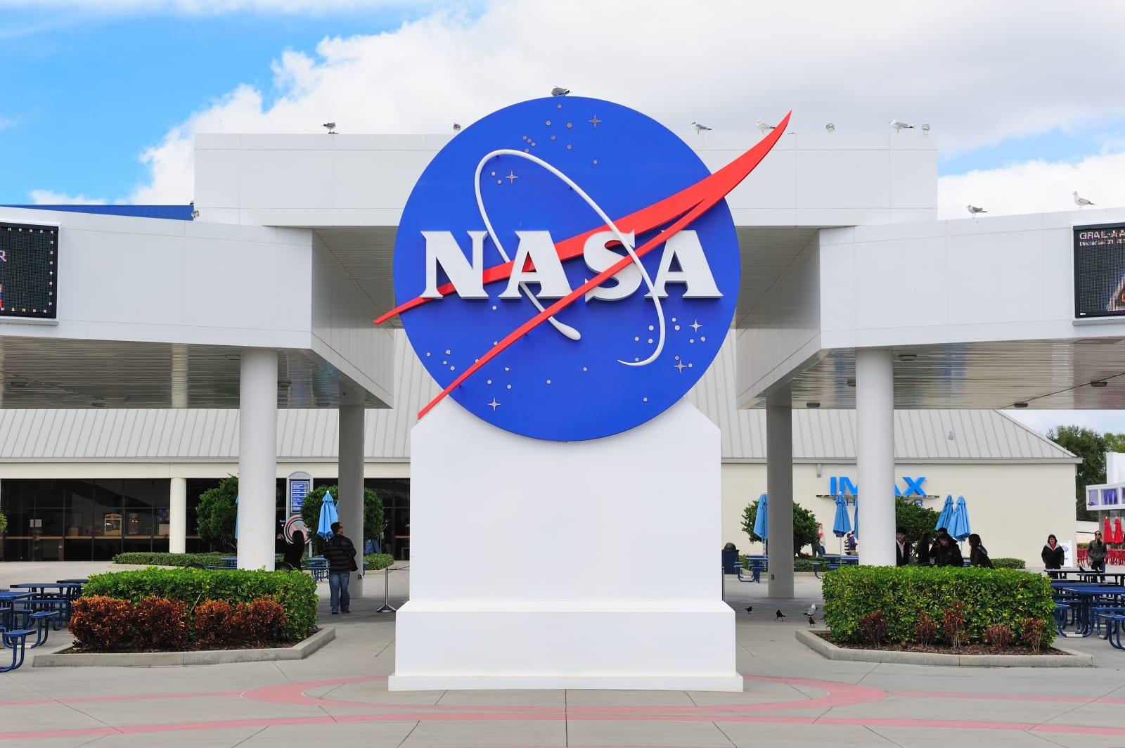 MERRITT ISLAND, FL - FEB 12: NASA logo in Kennedy Space Center on February 12, 2012 in Merritt Island, Florida. It is the launch