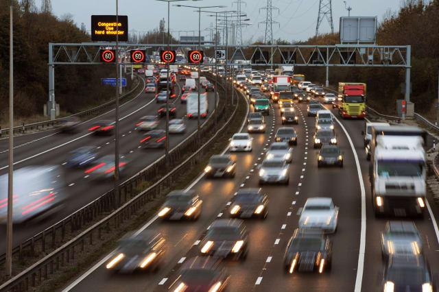 Rush Hour Traffic on the M6 Motorway, Walsall,UK.
