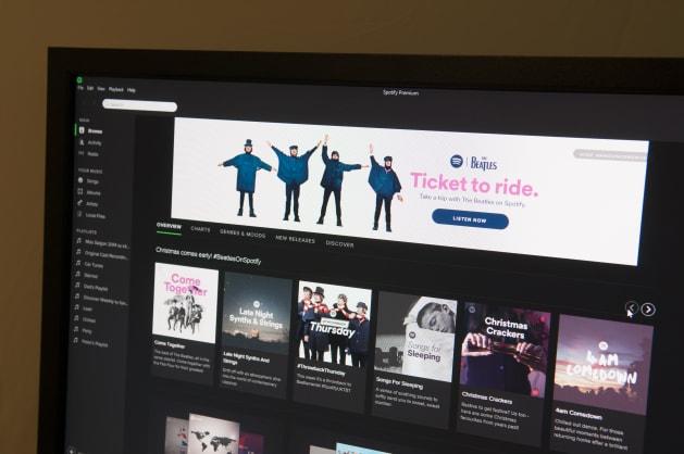 音楽のストリーミング配信サービス、Spotifyの画面。