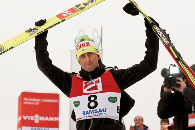RAMSAU, AUSTRIA - DECEMBER 16: (FRANCE OUT) Mario Stecher of Austria takes 3rd place during the FIS Nordic Combined World Cup HS98/10km December 16, 2012 in Ramsau, Austria. (Photo by Stanko Gruden/Agence Zoom/Getty Images)