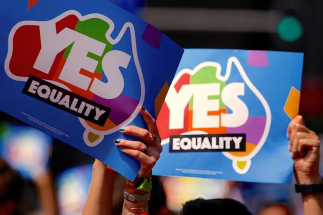 同性婚の合法化に向けたデモ(2017年10月21日撮影)