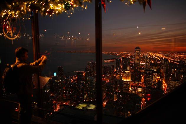 ジョン・ハンコックセンターの展望台から見えるシカゴの街並み
