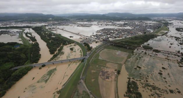 西日本豪雨/浸水地域と高梁、小田の2河川