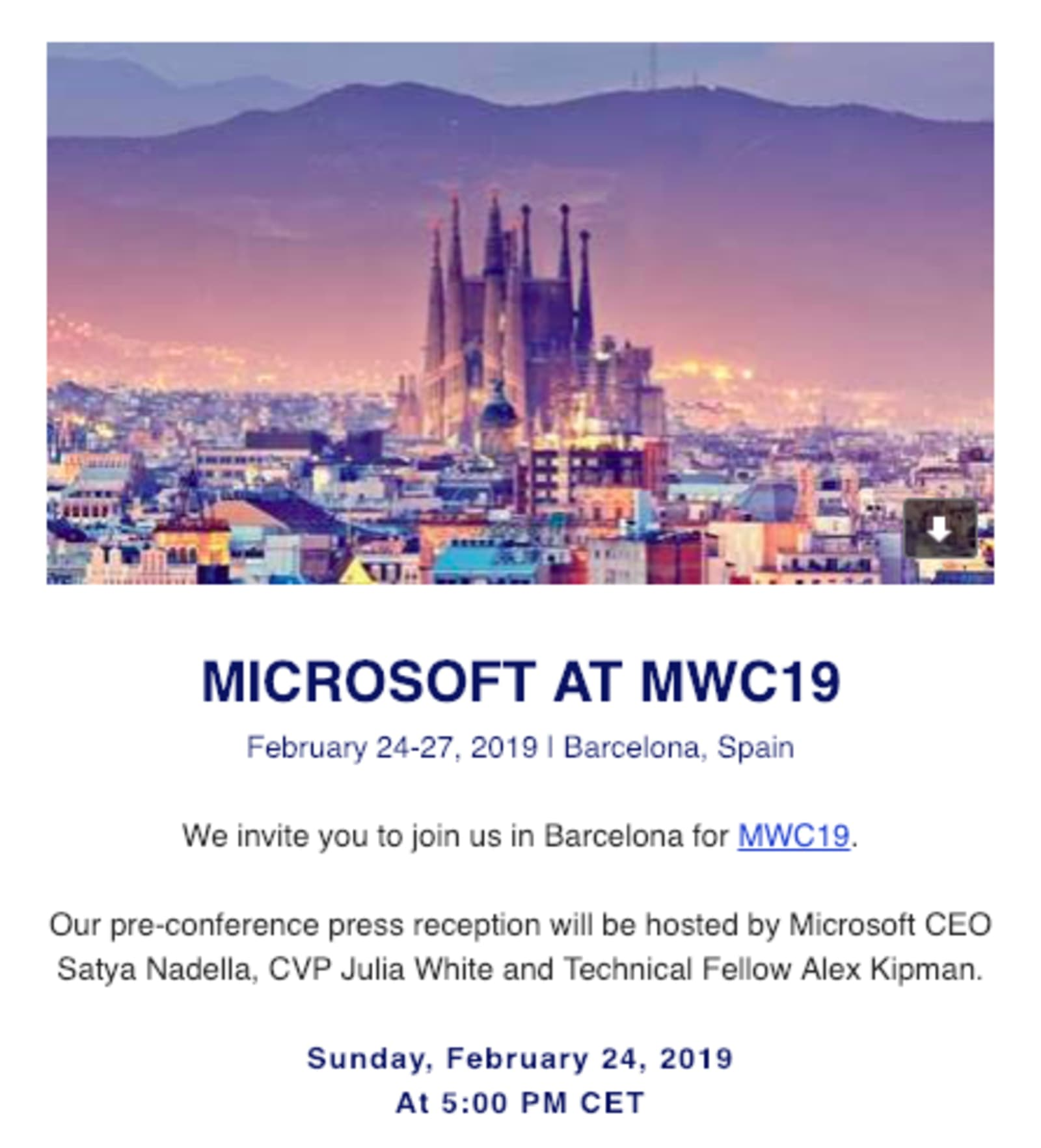 Microsoft MWC press event