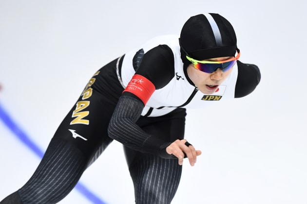 Japan's Miho Takagi competes in the women's 1,500m speed skating event during the Pyeongchang 2018 Winter Olympic Games at the Gangneung Oval in Gangneung on February 12, 2018. / AFP PHOTO / ARIS MESSINIS        (Photo credit should read ARIS MESSINIS/AFP/Getty Images)